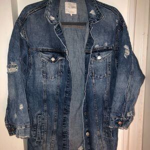 Over sized distressed denim jacket